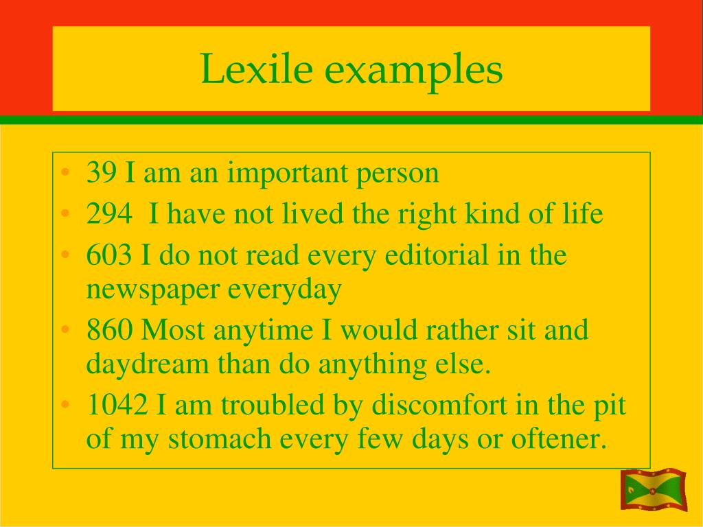 Lexile examples