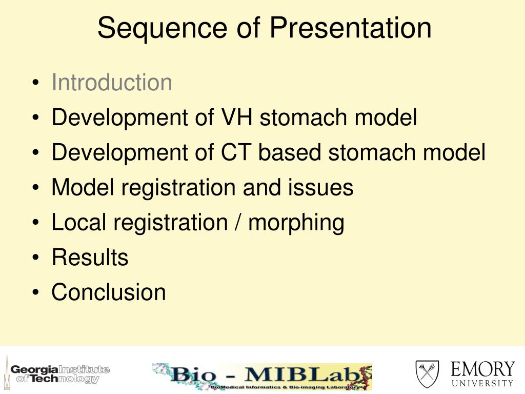 Sequence of Presentation