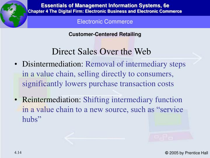 disintermediation and reintermediation of the travel Disintermediation and reintermediation have a significant impact on business organizations such as travel agencies, which exist primarily as intermediaries between suppliers of travel services the role of travel agencies is to provide customers with not physical products but with information.