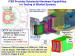 iter provides substantial hardware capabilities for testing of blanket systems