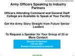 army officers speaking to industry partners