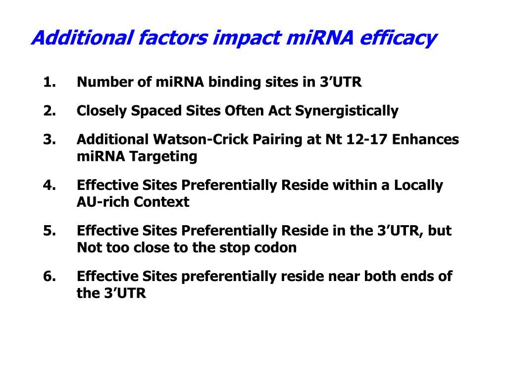 Additional factors impact miRNA efficacy