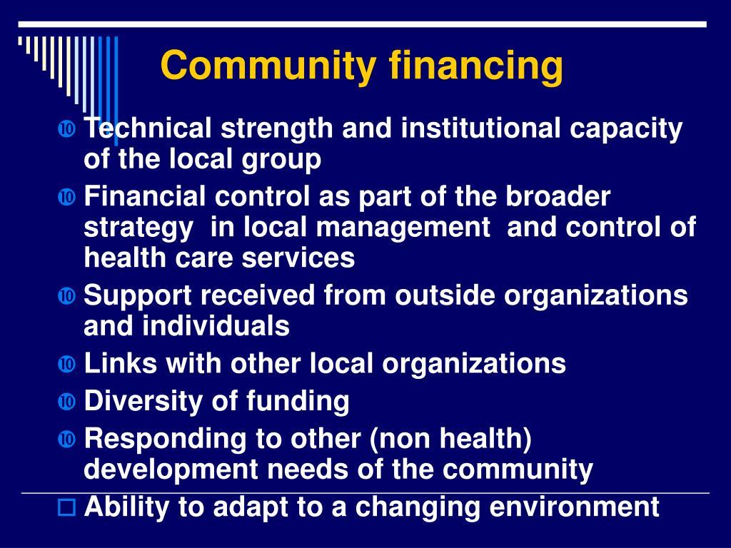 Community financing