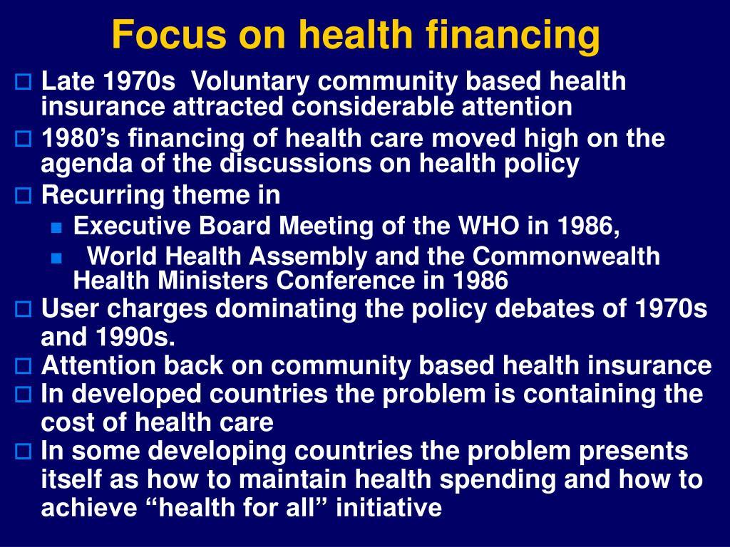 Focus on health financing