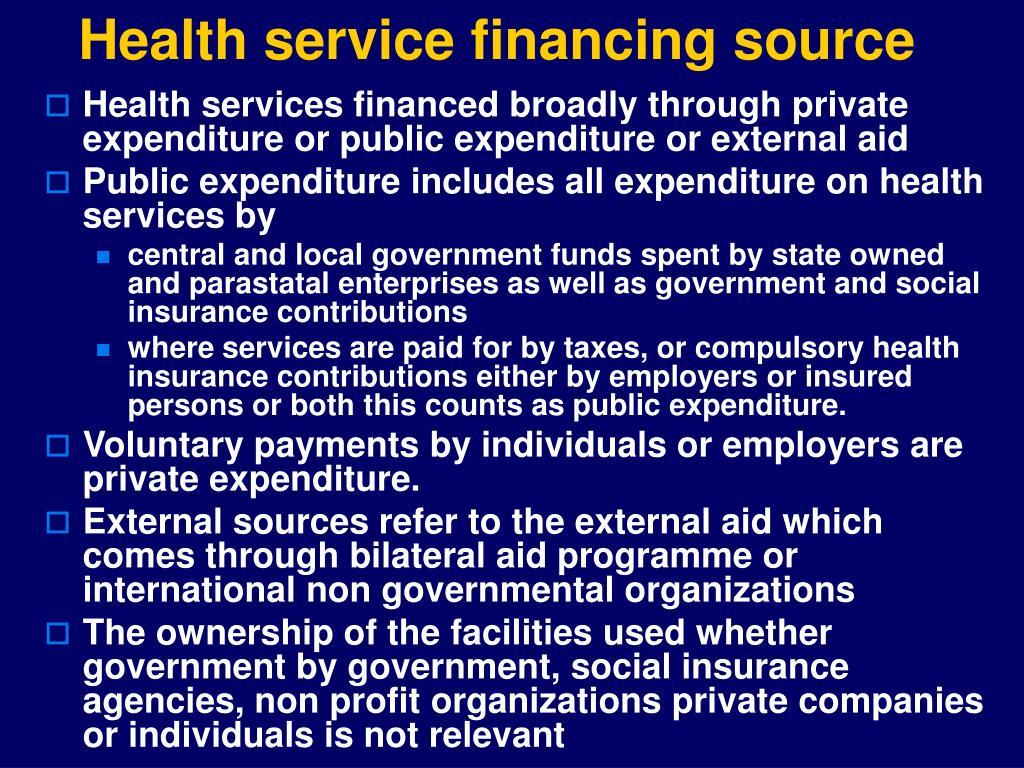 Health service financing source