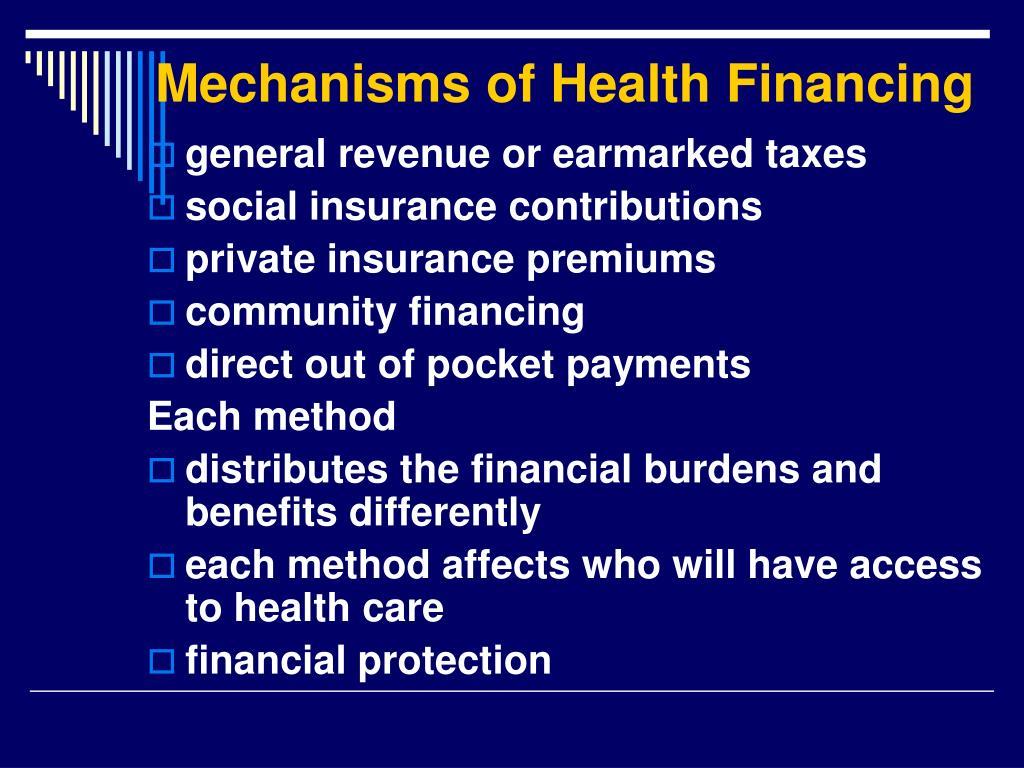 Mechanisms of Health Financing