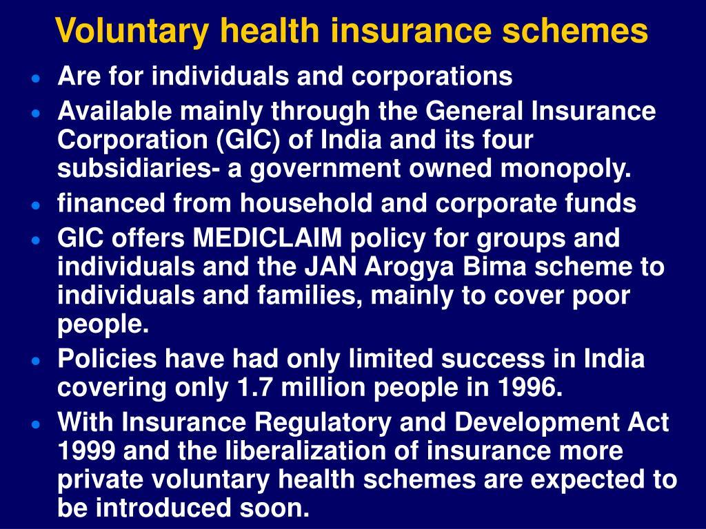 Voluntary health insurance schemes
