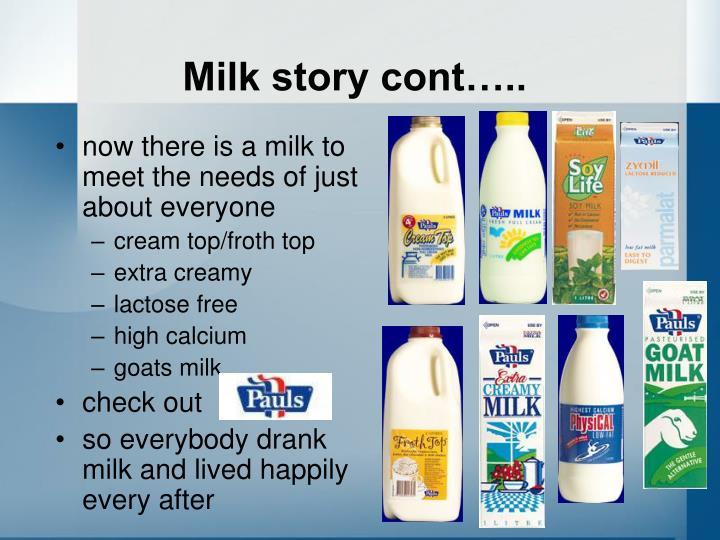 Milk story cont…..