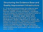 structuring the evidence base and quality improvement infrastructure