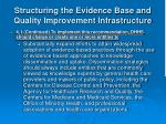structuring the evidence base and quality improvement infrastructure13