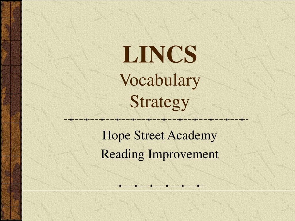 lincs vocabulary strategy l.