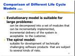 comparison of different life cycle models cont