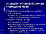 discussion of the evolutionary prototyping model