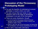 discussion of the throwaway prototyping model