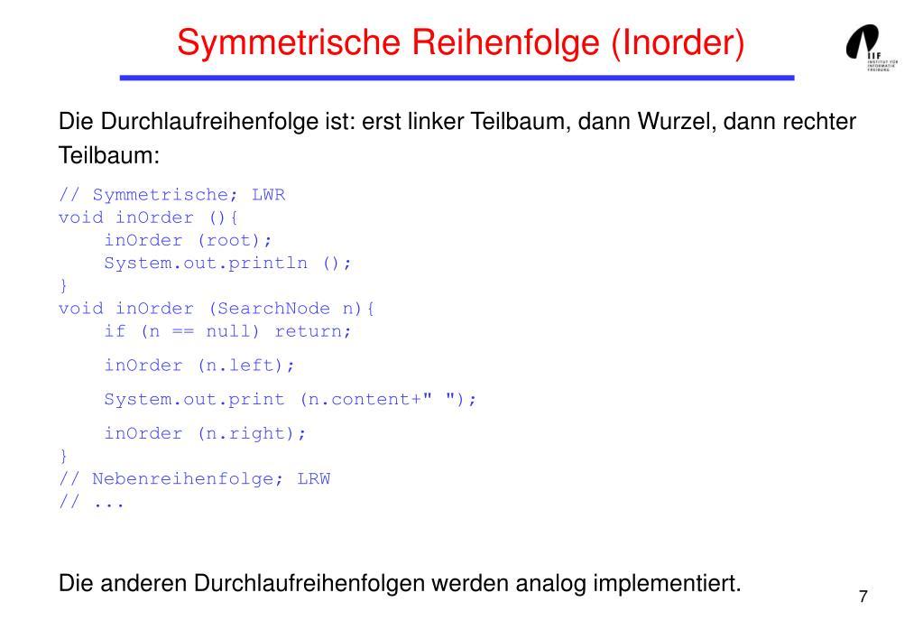 Symmetrische Reihenfolge (Inorder)