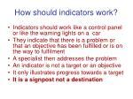 how should indicators work