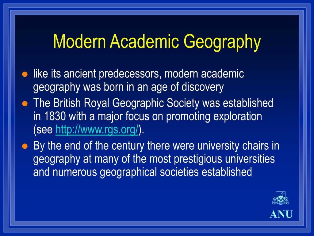 Modern Academic Geography
