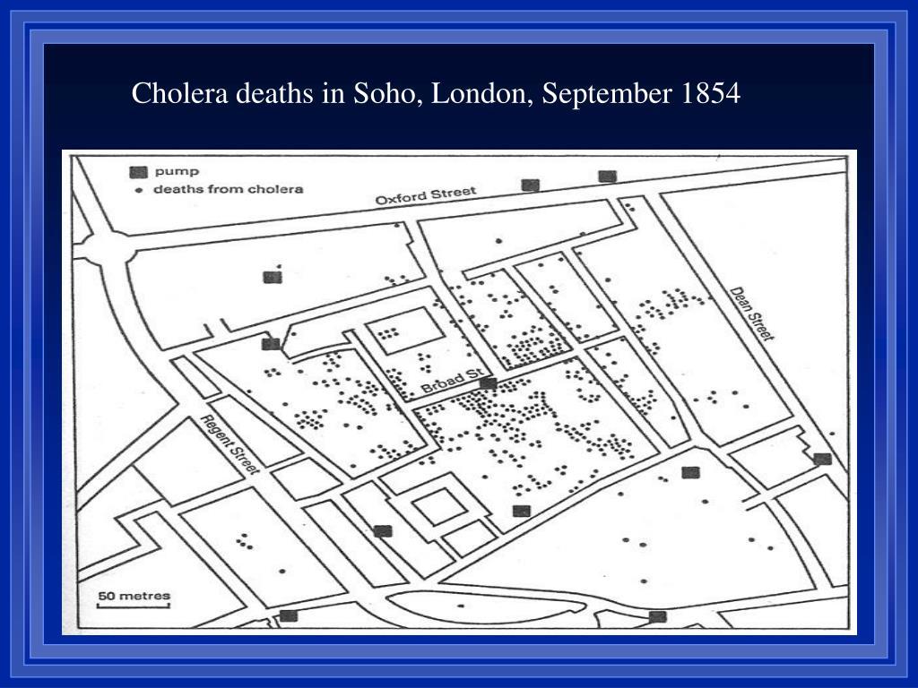 Cholera deaths in Soho, London, September 1854