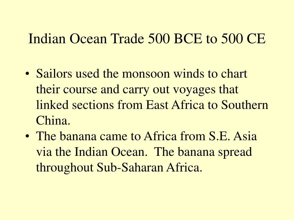 Indian Ocean Trade 500 BCE to 500 CE