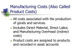 manufacturing costs also called product costs