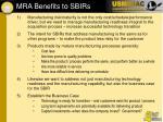 mra benefits to sbirs