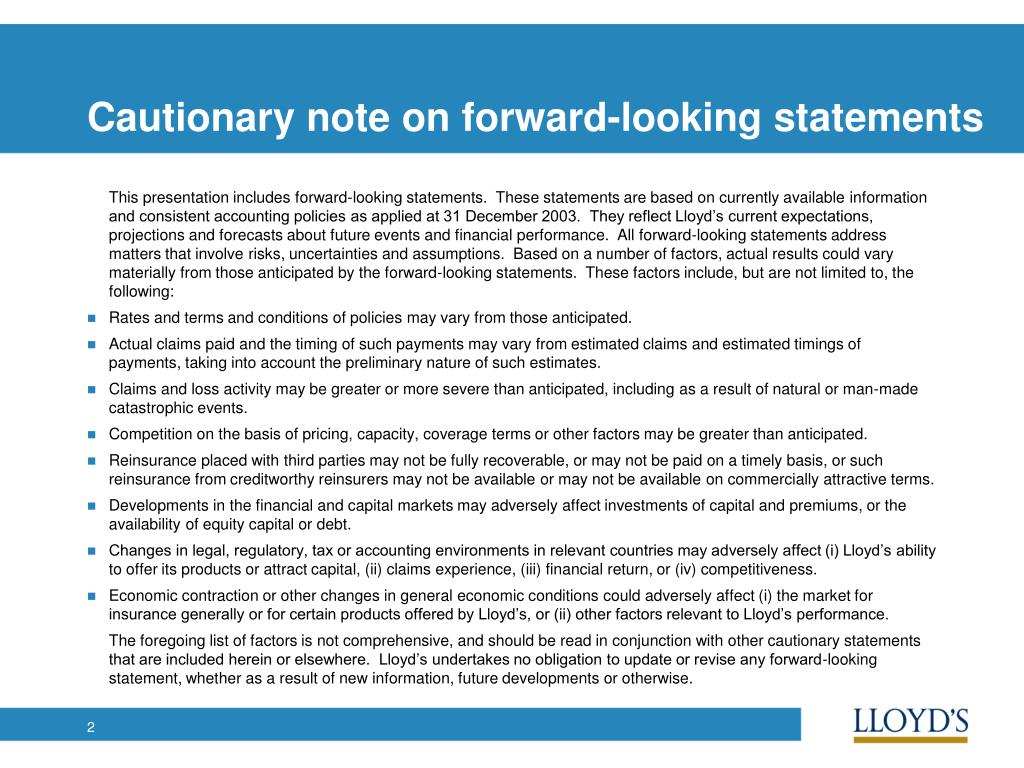 Cautionary note on forward-looking statements