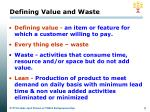 defining value and waste