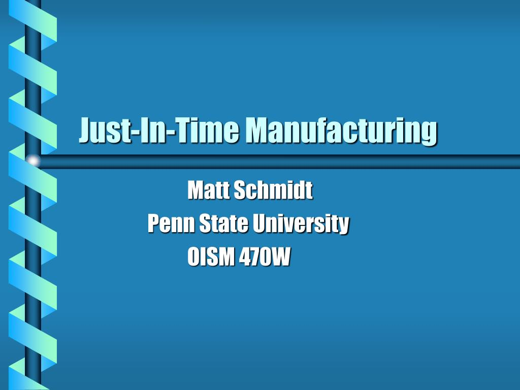 just in time manufacturing l.