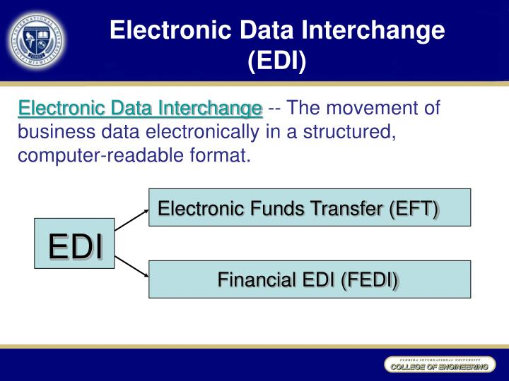 what is the difference between a electronic data interchange and a electronic funds transfer Technologies such as electronic commerce (ec)/electronic data interchange (edi) one area where ec/edi technology is being applied is to the dod electronic payment process through the implementation of eft/fedi.
