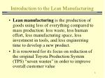 introduction to the lean manufacturing