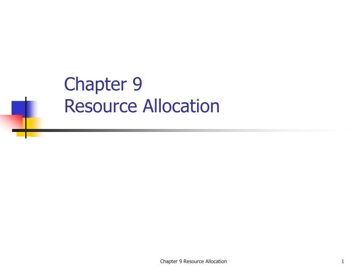 chapter 9 resource allocation n.