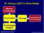 b manage and use knowledge