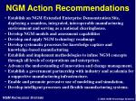 ngm action recommendations