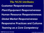 the ngm attributes