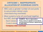 criticism 1 inappropriate allocation of overhead costs79