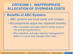 criticism 1 inappropriate allocation of overhead costs81