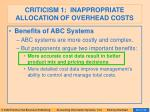 criticism 1 inappropriate allocation of overhead costs82