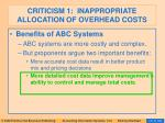 criticism 1 inappropriate allocation of overhead costs84