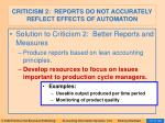 criticism 2 reports do not accurately reflect effects of automation94