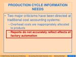 production cycle information needs91