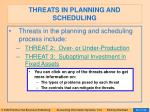 threats in planning and scheduling