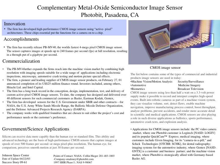PPT - Complementary Metal-Oxide Semiconductor Image Sensor Photobit ...