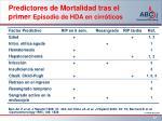 predictores de mortalidad tras el primer episodio de hda en cirr ticos