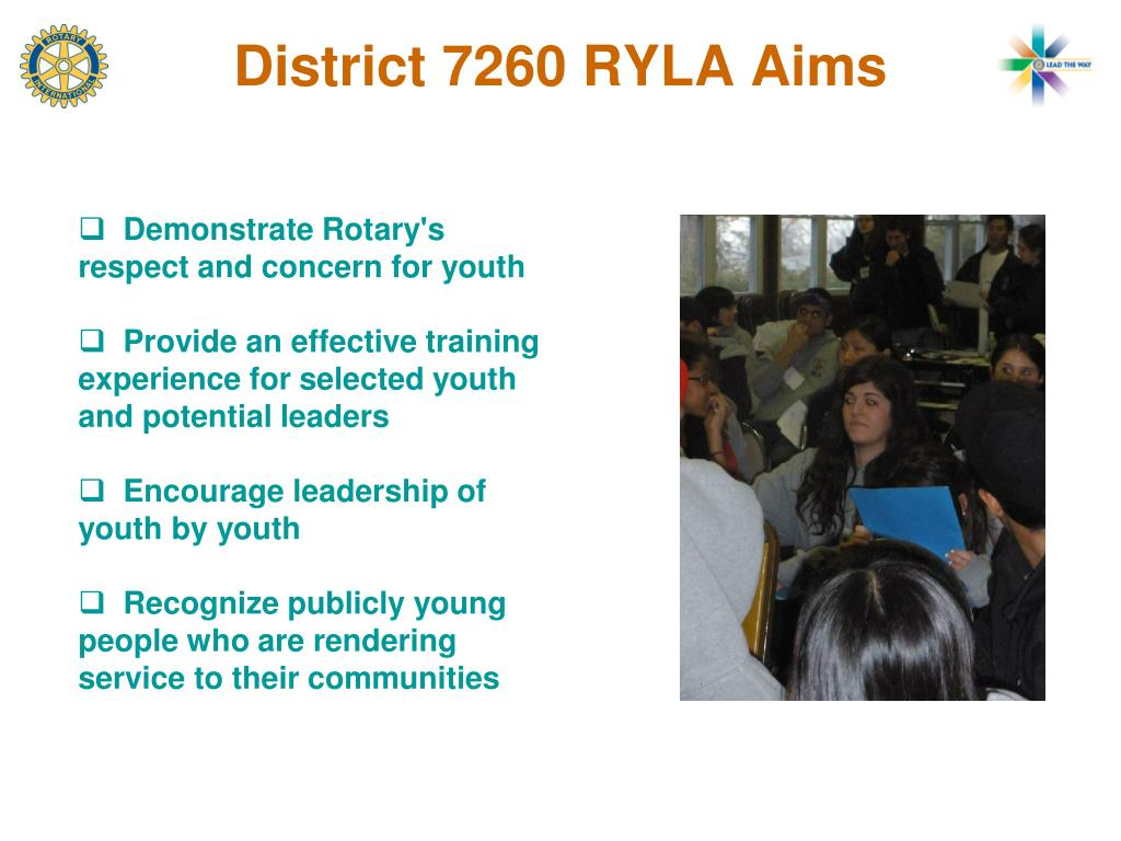 District 7260 RYLA Aims
