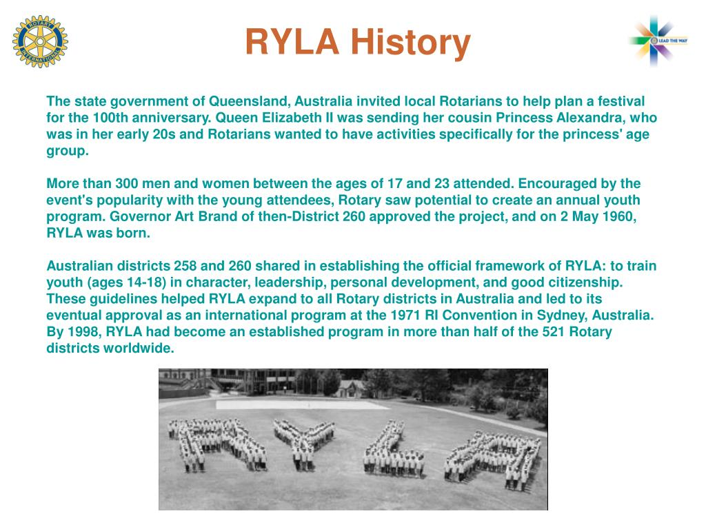 The state government of Queensland, Australia invited local Rotarians to help plan a festival for the 100th anniversary. Queen Elizabeth II was sending her cousin Princess Alexandra, who was in her early 20s and Rotarians wanted to have activities specifically for the princess' age group.