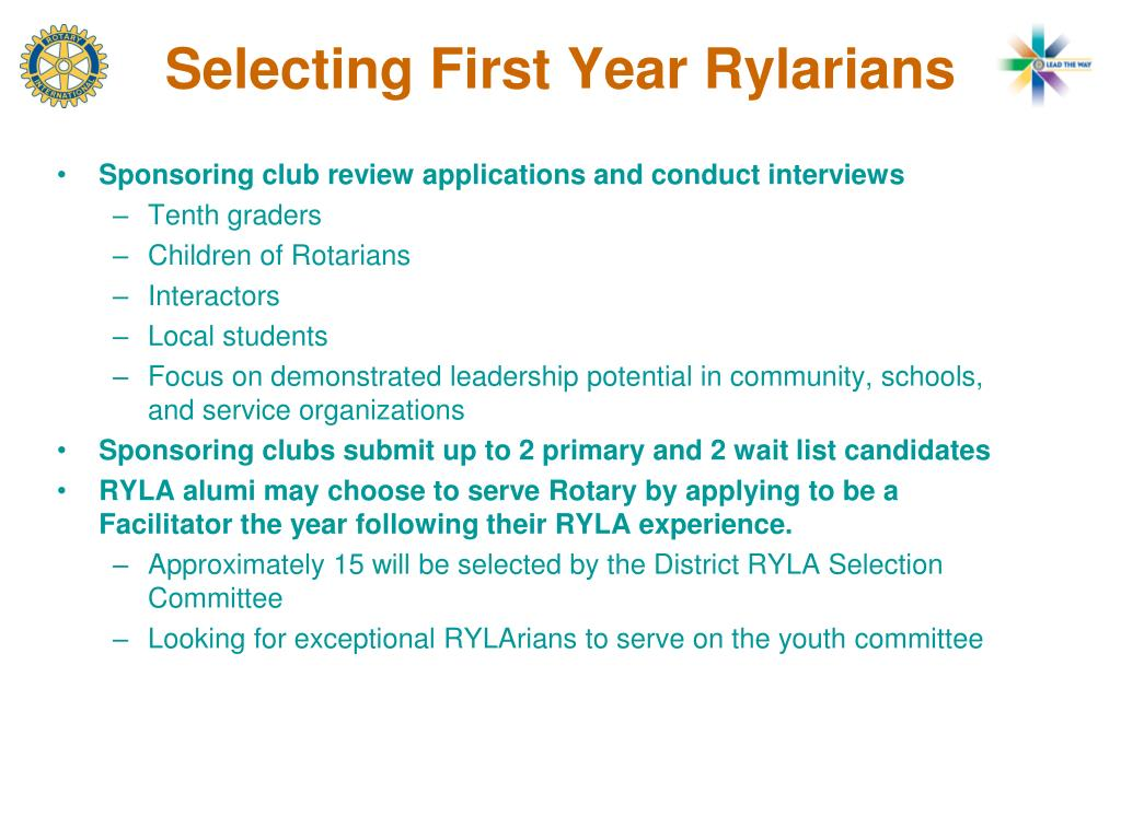 Selecting First Year Rylarians