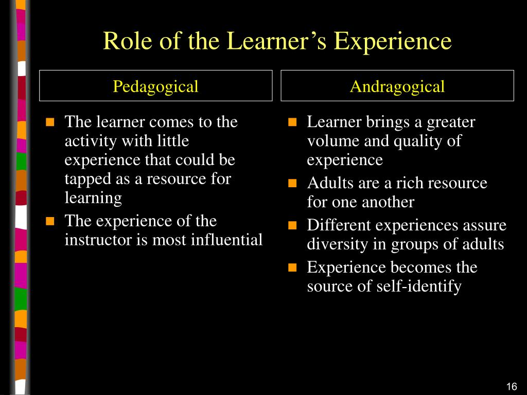 The learner comes to the activity with little experience that could be tapped as a resource for learning