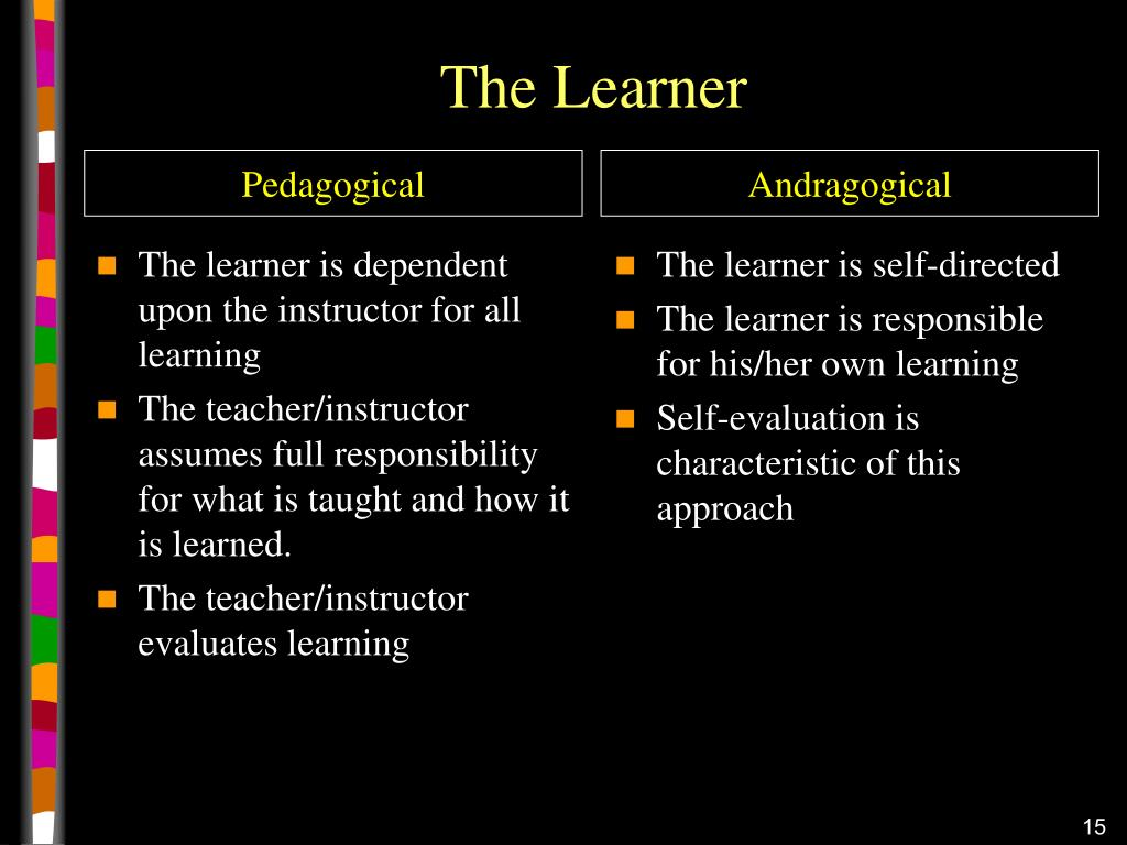 The learner is dependent upon the instructor for all learning