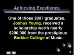 achieving excellence18