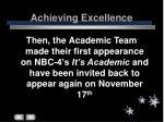 achieving excellence31
